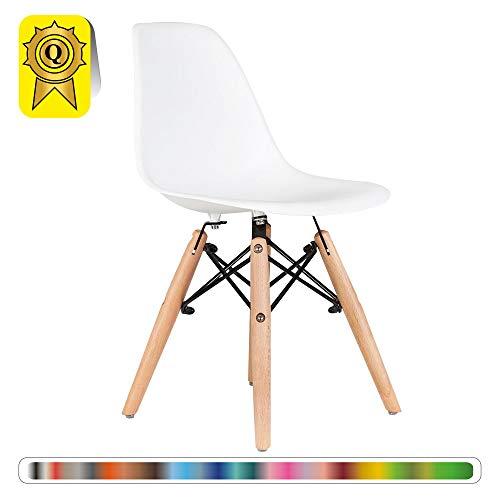 Decopresto 1 x Kind-Stuhl skandinavisch Beine: Naturholz Sitz: Weiß DP-DSWKL-WH-1P