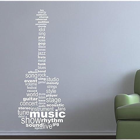 Guitarra Música de texto. Calidad vinilo adhesivo de pared, mate. 6opciones de color., blanco