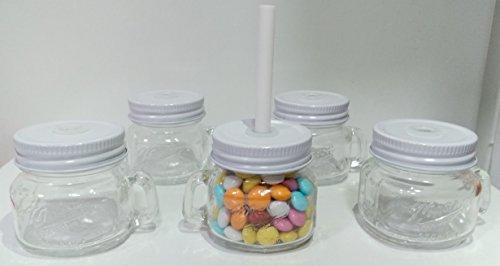 Vasetto bomboniera barattolino vetro con manico e cannuccia tappo bianco a vite cm 6x5 confezione da 10 pezzi - senza confetti