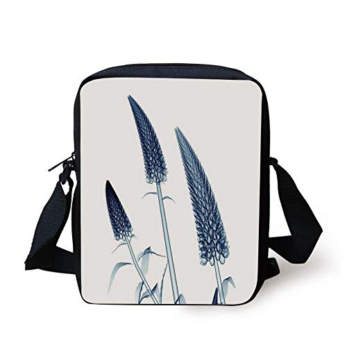 Xray Flower,Gooseneck Loosestrife Flower X Rays Image Exotic Plants Blooms Artful Home,Teal White Print Kids Crossbody Messenger Bag Purse
