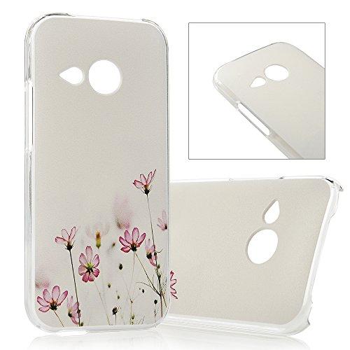 Lanveni Gemalt PC Hülle für (HTC One M8 mini) HTC One Mini 2 Schutzhülle Etui Telefon-Kasten Case Blumen Muster Handycover Abdeckung Backcase Handyhülle Schale Protector