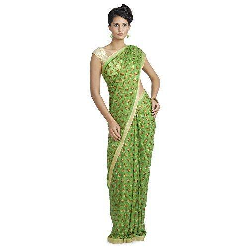 Ethnic Bliss Lifestyles Women's Chiffon Saree (Eblphksrmclgr01_Green)
