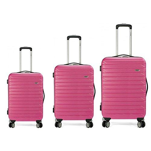 Set de 3 maletas rígidas disponibles en varios colores, con 4 ruedas multidireccionales. (Rosa)