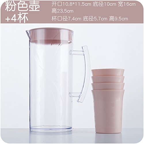 XXAICW Plastique froid jug bouilloires capacité calorifique lait jus bouteilles froid tasses de froid boire ensemble vaisselle la théière bouilloire , Vase rose + 4 Coupe