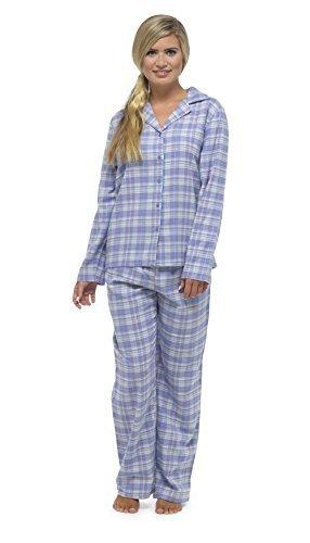 Femme Traditionnel Carreaux Flanelle Set Pyjama Avec Masque Yeux Carreaux bleu
