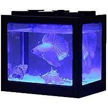 Ecological Aquarium Box Acuario De Sobremesa Mini Pequeño Betta Escritorio De Oficina con Luz LED Farming