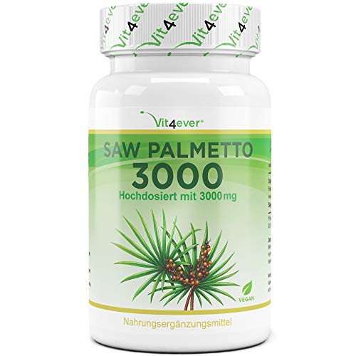 Saw Palmetto 3000-120 Kapseln - Hochdosiert mit 3000 mg Sägepalmepulver - Sägepalme Fruchtextrakt 20:1 - Vegan - Vit4ever