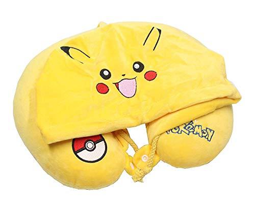 Cathy Premium Pikachu gelb U-Form Reisekissen POD18015 mit Kapuze für Zuhause Autositz Nackenstützkissen niedlich weich gelb