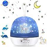 Veilleuse Enfant Etoile Projection 360° Rotation Lampe Projecteur Romantique LED Veilleuse Bébé avec 8 Modes d'éclairage et 4 Scènes de thème 2 Modes d'alimentation