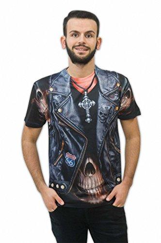 Zoelibat 14014242.008.XL - Herren T-Shirt Rocker - Kurzarm, Größe XL (56/58), (Kostüm Ghost Die Rider)
