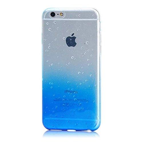 MOMDAD iPhone 6 Coque / iPhone 6S Coque /iPhone 6 6S 4.7 Pouces Coque Transparente en TPU Souple Case Cover iPhone 6 6S Transparent Coque Souple de Protection Etui TPU Silicone Soft Case Cas Ultra Lég Raindrop-Sbleu