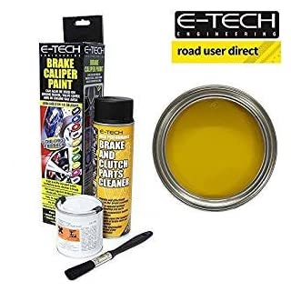 E-Tech Brake Caliper Paint - YELLOW - Complete Kit Inc Paint/Cleaner & Brush