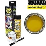 E-Tech Bremssattellack, Gelb, komplettes Set inklusive Farbe, Reinigungsmittel und Bürste.