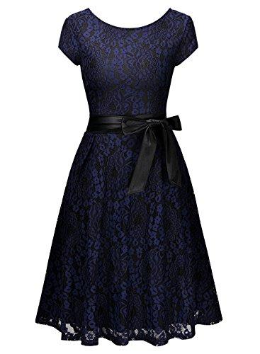 Miusol Femme Rétro Vintage Dentelle Florale la Robe de Mariée Bleu