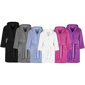 Kinderbademantel Kuschel Soft Fleece mit Kaputze & Taschen Jungen, Mädchen (164, schwarz) Microfaser Mantel/Kinder Bademantel