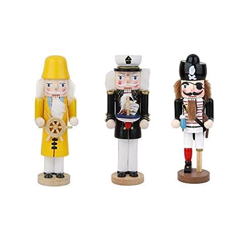 Generic Lot 3pcs Casse noisettes Soldat Nussknacker en Bois Décoration de Noël Police Capitaine Pirate