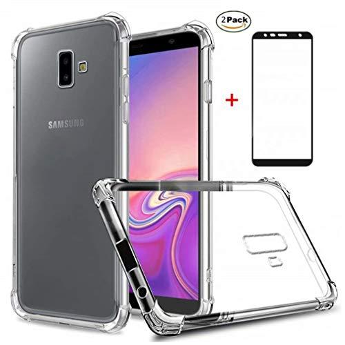 Samsung Galaxy J6 Plus Hülle Ttimao Weiche Transparent TPU Silikon Luftpolster Design Drop Protection Ultradünne Anti-Schock Anti-Scratch Schutzhülle+2*Hartglas Glas Display Schutzfolie