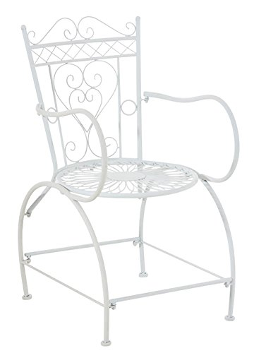 Chaise de jardin en fer coloris blanc - 88 x 48 x 60 cm -PEGANE-