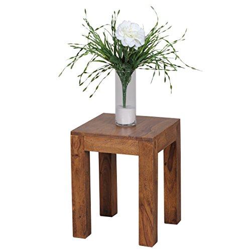 WOHNLING Beistelltisch Massiv-Holz Sheesham 35 x 35 cm Wohnzimmer-Tisch Design dunkel-braun Landhaus-Stil Couchtisch Natur-Produkt Wohnzimmermöbel Unikat modern Massivholzmöbel Echtholz Anstelltisch -