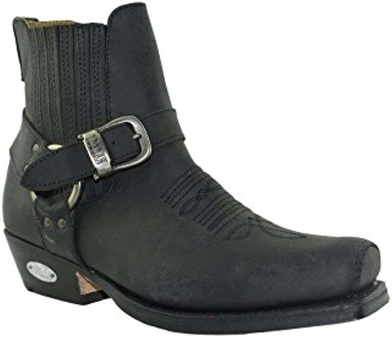 Loblan 515 Cuero Negro Cowboy Botas Motorista Western Square Toe Ankle Botas