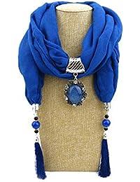 c31b5011fa3f Nordira Écharpe pour Femme, Ethnique Couleur Unie Pompon Femme Automne Hiver  extérieur Doux Chaud écharpe