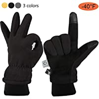 ccbetter Winter Gloves with Windproof Deerskin Suede Leather and Insulated Polar Fleece Heatlok Cotton Layer
