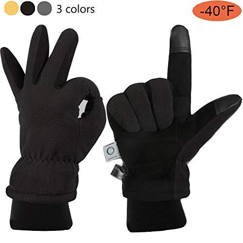 CCBETTER Winterhandschuhe Hirschleder Veloursleder Palme und Warm Polar Fleece Kälteschutz Snow Arbeit Ski Handschuh (M, Schwarz)