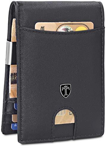 TRAVANDO  Portefeuille avec Pince à Billets Rio Etui RFID Blocage Contre Piratage Bancaire | Mince Porte-Monnaie avec Clip en Métal | Porte-Carte de Crédit Sécurisé (Noir)