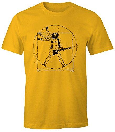Herren T-Shirt - Leonardo Da Vinci Gitarre Rock - Comfort Fit MoonWorks® Gelb