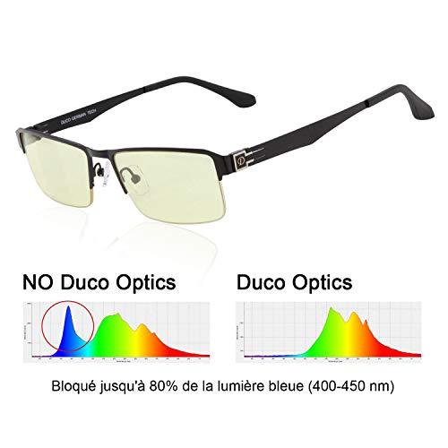 DUCO Design Computer Gaming mit gelb getönten Gläsern Blaulicht-Schutz Bildschirmbrille Semi-randlose 302