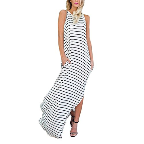 KanLin Damen Sommer Striated Print Blumen Gallus bodenlangen langes Kleid Weiß