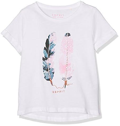 ESPRIT Mädchen Regular Fit T-Shirt RJ10283, Einfarbig, Gr. 116, Weiß (WHITE 010)