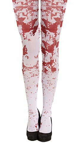 White Blood Splattered Tights Halloween Fancy Dress (Halloween Baby Strumpfhosen)