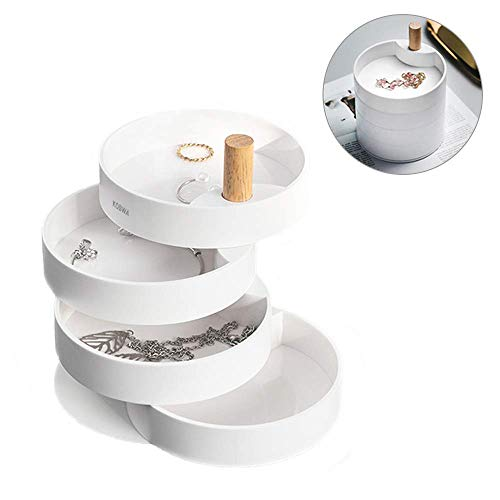 KOBWA Joyero Organizador Mujer Niña, Caja Joyero Organizador Rotación de 360 Grados, Almacenamiento para Anillos, Pendientes, Collar, 4 Niveles, Cumpleaños, Regalo de San Valentin (Blanco 1)