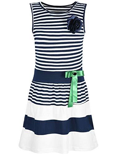 d Kinder-Kleider Sommer-Kleid Ärmellos Gestreift Schleife 30049 Blau 152 ()