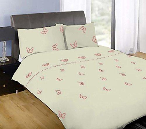 Bettwäsche-Set aus luxuriösem Perkal, Modernes Design, Schmetterlings-Herz-Bestickt, Steppdecke, Cremefarben, Doppelbett ()