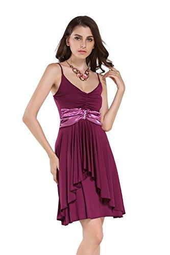 JOTHIN Damen Halfter Sommerkleid Baumwolle Bodycon A-linen Einfarbige Kleider Lila-q