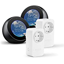 2 Amazon Echo Spot, negro + 2 Amazon Smart Plug, compatible con Alexa