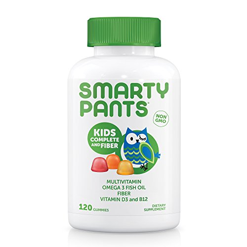 SmartyPants Kids Complete and Fiber Gummy Vitamins: Multivitamin, Inulin Prebiotic Fiber & Omega 3 DHA/EPA Fish Oil, Folate (Methylfolate), Methyl B12, Vitamin D3, 120 count (30 Day Supply)