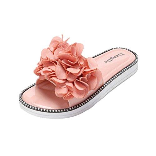 Transer® Damen Flach Slipper Blume Kunststoff Schwarz Rosa Braun Grün Hausschuhe (Bitte achten Sie auf die Größentabelle. Bitte eine Nummer größer bestellen. Vielen Dank!) Rosa