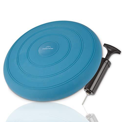 EVEREST FITNESS Luftkissen, luftgefüllt, Ø 33 cm, blau, inklusive Luftpumpe - Balance-Kissen, Gleichgewichts-Kissen, Trainings-Kissen, Sitz- und Rückenkissen