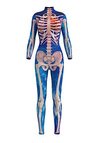 n Jumpsuit Kostüm 3D Print Langarm Skinny Knochen Skeleton Catsuit Cosplay Skelett Overall Bodysuit Anzug Karneval Fasching BDS-97004 XL ()
