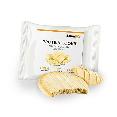 Protein Snack Cookie Protein Riegel White Chocolate von Supplify mit Whey Pulver – Proteinriegel als Mahlzeitenersatz für Protein Shake – Energieriegel für Muskelaufbau und Abnehmen (Cake Box White)