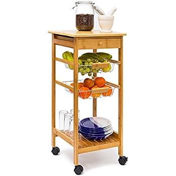 Relaxdays Küchenrollwagen JAMES Gr. S Bambus H x B x T: ca. 80,5 x ...