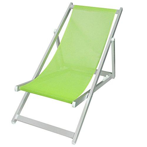 Bakaji sedia sdraio pieghevole professionale con struttura tubolare in alluminio anotizzato e seduta reclinabile in telo textilene a trama larga in colore verde per esterno giardino piscina mare dimensioni 106 x 57 x 85 cm