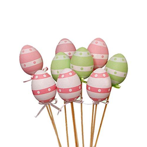Ostereier 9 Set Bemalte Eier Ostern Kunsthandwerk Dekoration Plastik Osterdeko Spielzeug für Kinder