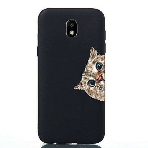 HopMore Silicone Coque pour Samsung Galaxy J5 2017 Noir Étui Motif Drôle Créatif TPU Souple Etui Samsung J5 2017 Antichoc Protection Ultra Mince Case Housse Fine pour Fille Femme Homme - Chat