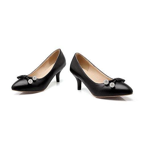 AllhqFashion Femme Pointu Tire Couleur Unie à Talon Correct Chaussures Légeres Noir