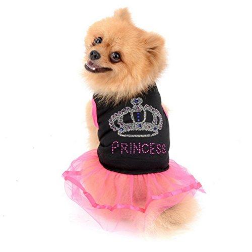 Zunea Hund Kleid für Kleine Hunde Cute Sweet Puppy Hund Prinzessin Kleid mit Krone Muster Pet Cat Weste Rock für Den Alltag, Urlaub, Sundress, Party