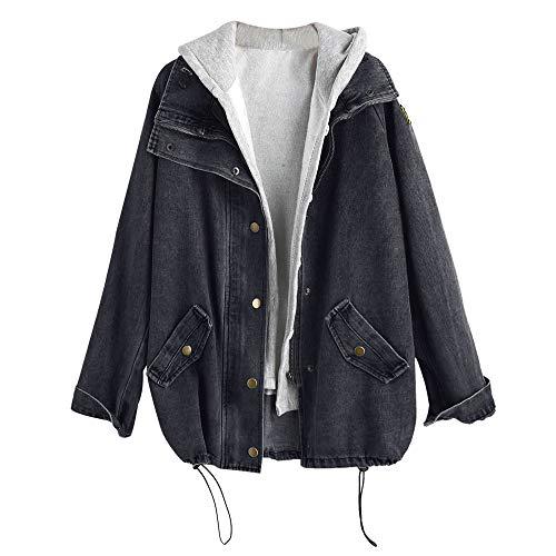 ZAFUL Damen Jeansjacke mit Kapuze Weste Zweiteiliger Mantel Winddichtes Top Outwear (Schwarz XL)